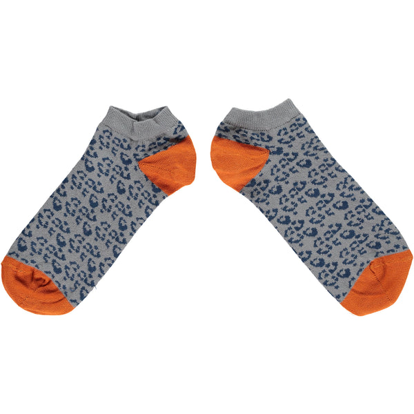 Men's Navy Leopard Print Cotton Sports Socks