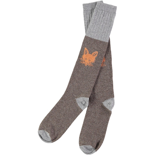 men's fox face lambswool socks