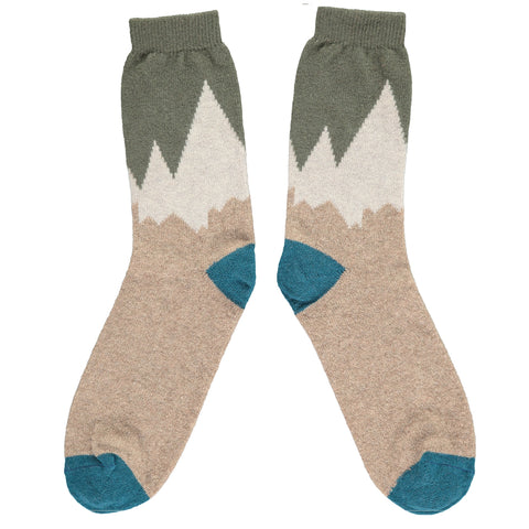 Men's Snowy Mountains Lambswool Ankle Socks