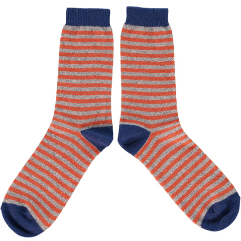 MENS LAMBSWOOL ANKLE SOCKS -ORANGE STRIPE