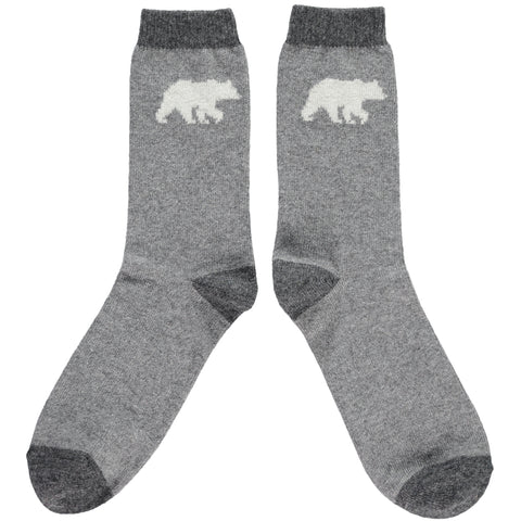 MENS LAMBSWOOL ANKLE SOCKS -POLAR BEAR