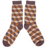 MENS LAMBSWOOL ANKLE SOCKS - MULBERRY CUBE