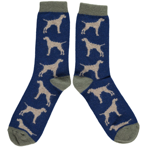MENS LAMBSWOOL ANKLE SOCKS - NAVY HOUNDS