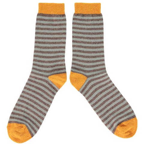 MENS LAMBSWOOL ANKLE SOCKS - SAGE STRIPE