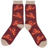 MENS LAMBSWOOL ANKLE SOCKS LOBSTER REPEAT