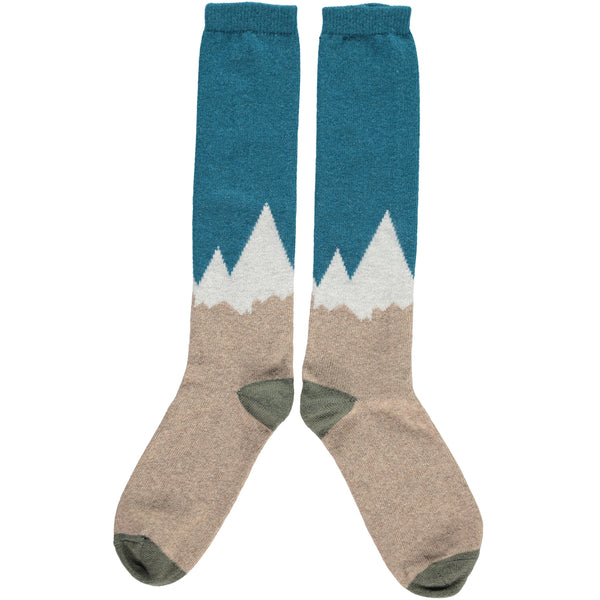 Men's Petrol Mountain Lambswool Knee Socks