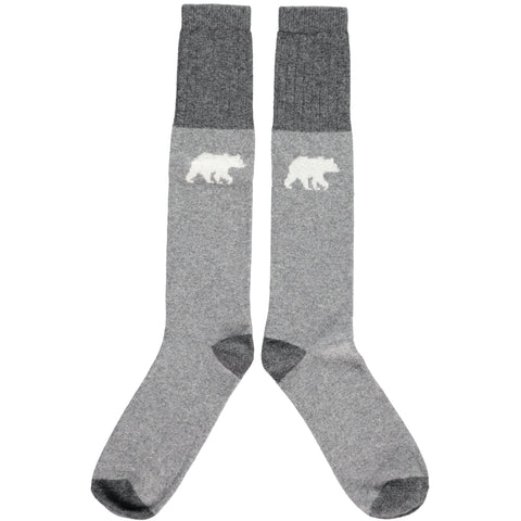 MENS LAMBSWOOL KNEE SOCKS- POLAR BEAR