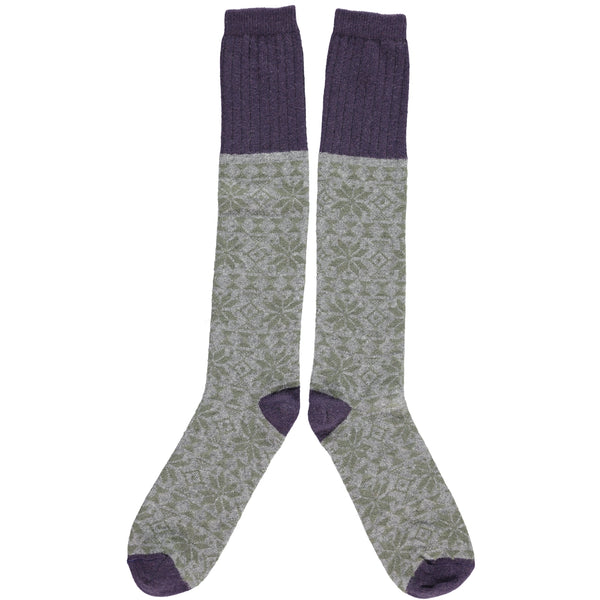 MENS LAMBSWOOL KNEE SOCKS - GREEN FAIR ISLE