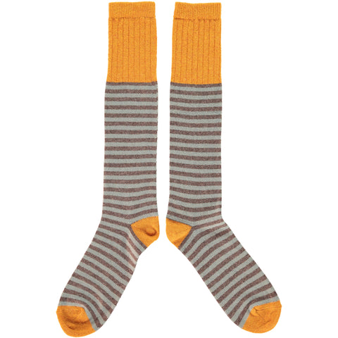 MENS LAMBSWOOL KNEE SOCKS SAGE STRIPE