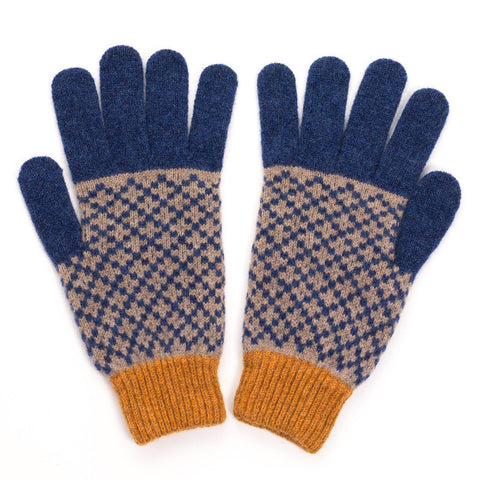 Men's Cross Mushroom & Navy Lambswool Gloves