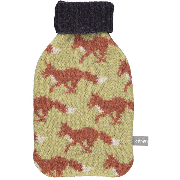 Lime Fox Lambswool Mini Hot Water Bottle Set