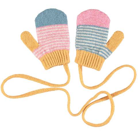 MITTENS - lambswool - age 2-4yrs - stripes - pink/smokey blue