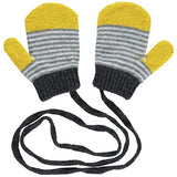 Grey & Bright Yellow Kid's Mittens On A String