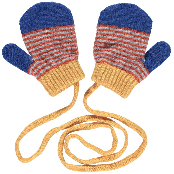 Persian Blue & Rust Kid's Mittens On A String