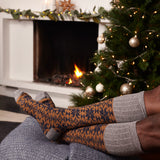 Men's Copper & Navy Fair Isle Lambswool Knee Socks