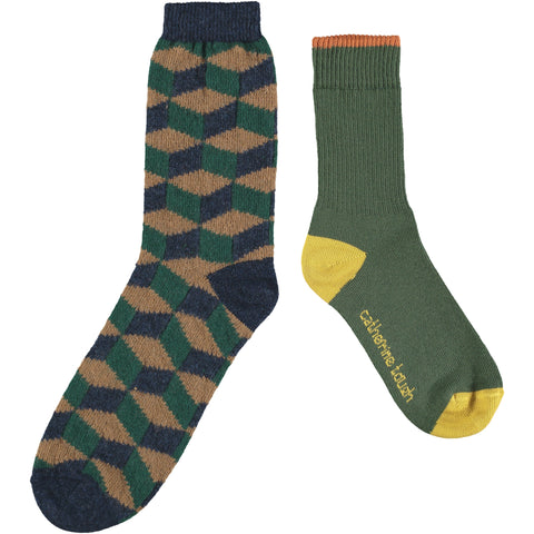 Men's Cotton & Wool Sock Set - Dark Green & Navy Cubes