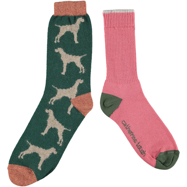Men's Cotton & Wool Sock Set - Pink & Green Hounds