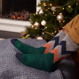 Men's Fir Green Zigzag Lambswool Ankle Socks