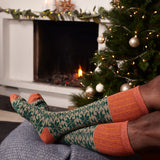 Men's Orange & Fir Green Fair Isle Lambswool Knee Socks