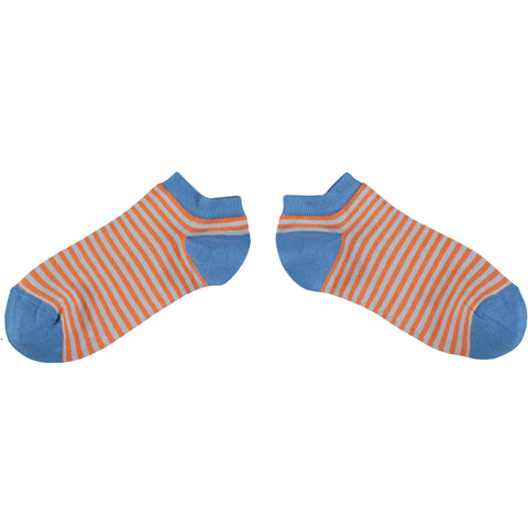 Men's Orange & Grey Stripe Cotton Sports Socks