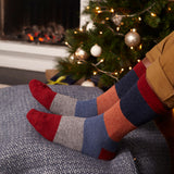 Men's Red & Blue Colour Block Lambswool Ankle Socks