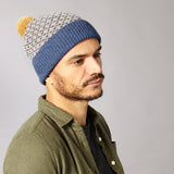 Men's Cross Pattern Navy & Mushroom Lambswool Bobble Hat
