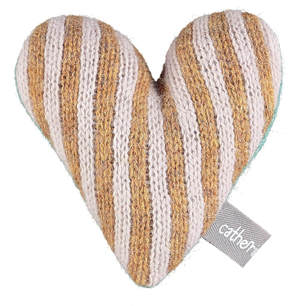 Mini Knitted Gold & Light Pink Stripey Heart With Lavender