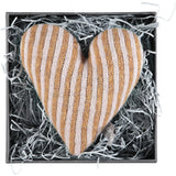 Mini Knitted Gold & Light Pink Stripy Heart With Lavender