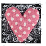 Mini Knitted Polka Dot Pink Heart With Lavender