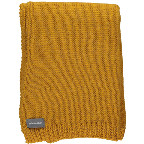 Mustard Knitted Alpaca Throw