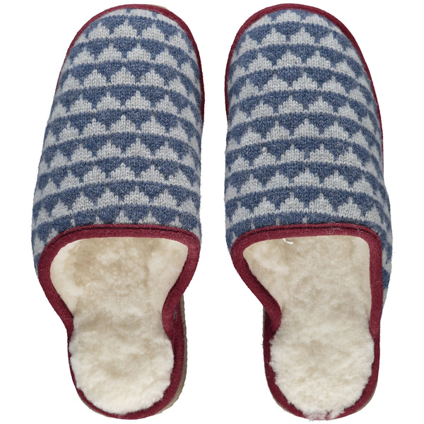 Navy Blue Triangles Lambswool & Sheepskin Slippers