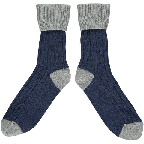 SLOUCH SOCKS - cashmere mix - navy/mid grey