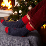Navy & Red Cashmere Mix Slouch Socks