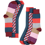 Navy & Red Collection - Men's Cotton Ankle Sock 3 Pack - SAVE 20%
