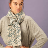 Oat and Sea Green Leopard Knit Lambswool Scarf