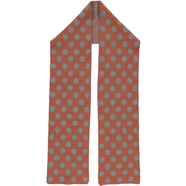 Orange & Sea Green Spot Lambswool Scarf