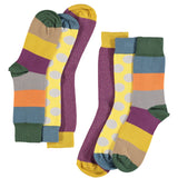 Plum & Yellow Collection - Women's Cotton Ankle Sock 3 Pack - SAVE 20%