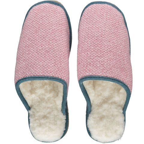 Rose Pink Check Lambswool & Sheepskin Slippers