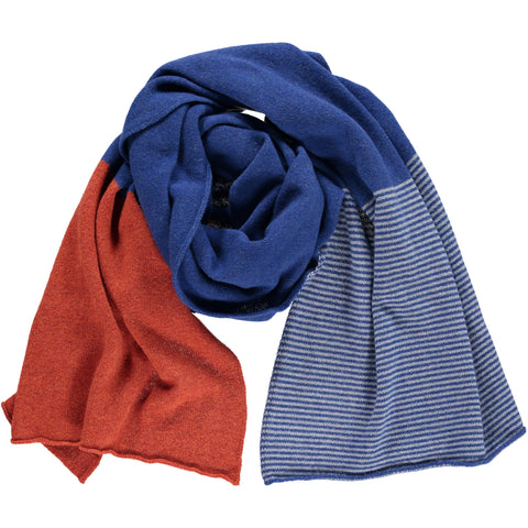 Persian Blue Stripe Wide Lambswool Scarf