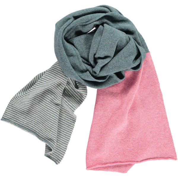 Sage Green Stripe Wide Lambswool Scarf