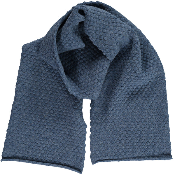 Honeycomb Denim Blue Lambswool Scarf
