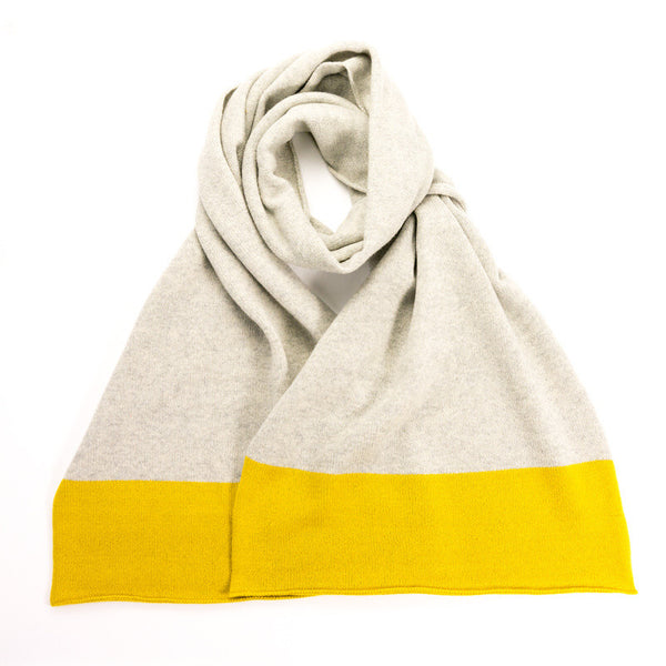 Lambswool Colour Block Light Grey & Yellow Scarf