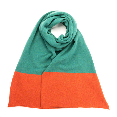 Lambswool Colour Block Green & Orange Scarf
