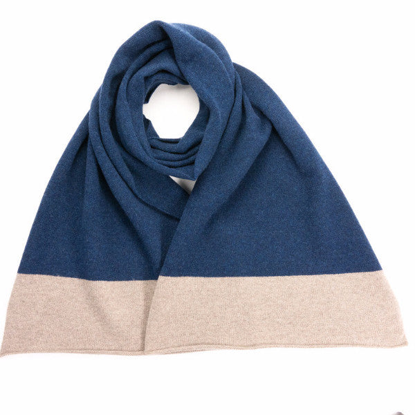 Lambswool Colour Block Mushroom & Navy Scarf