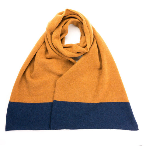 Lambswool Colour Block Navy & Gold Scarf