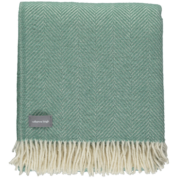 Sea Green Herringbone Wool Throw