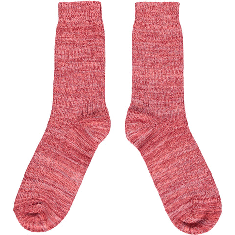 Thick Organic Cotton Socks - Red Marl
