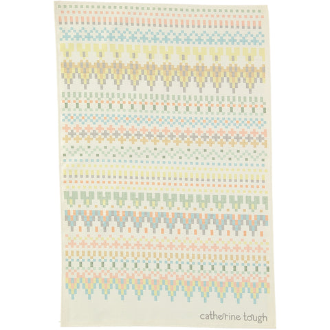 cross stitch patterned tea towel