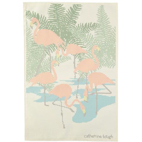 cross stitch flamingo tea towel