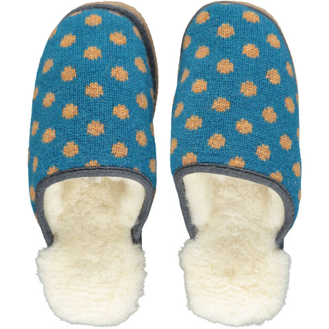 Teal & Mustard Dot Lambswool & Sheepskin Slippers